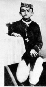 A portrait of Mahatma Gandhi when he was seven years old.