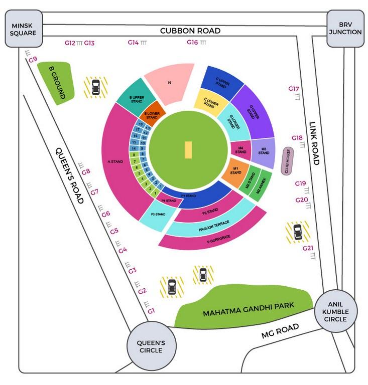 M Chinnaswamy Stadium Seating Layout and Map IPL 2020
