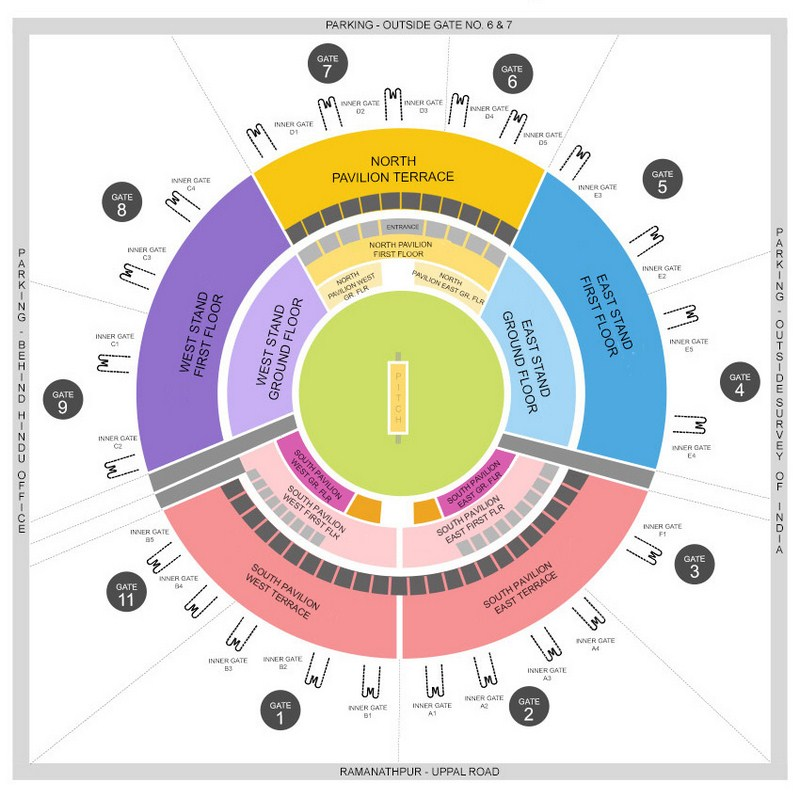 Rajiv Gandhi International Cricket Uppal Stadium Tickets Booking Online and Prices for IPL 2020| DNewsCafe| Seating arrangement